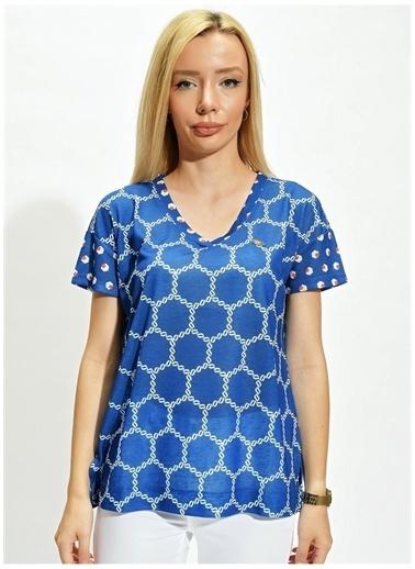 U.S. Polo Assn. U.S. Polo Assn. Saks Mavi Desenli KadınT-Shirt Saks